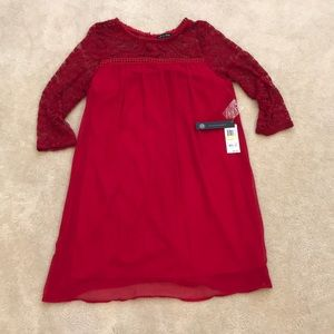 Macy's Red Lace 3/4 Sleeve Dress